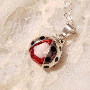 Ladybug Necklace Silver Swarovski Crystal